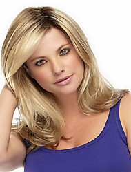 cheap -Synthetic Wig Wavy With Bangs Side Part Dark Roots Ombre Hair Blonde Women's Capless Natural Wigs Medium Synthetic Hair
