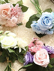 1Bunch  Silk Flower Wedding Bouquet Roses Dahlias Artificial Flowers Fall Vivid Fake Leaf Wedding Flower Bridal Bouquets Decoration