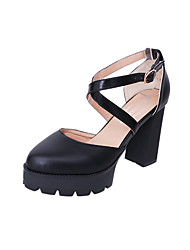 Women's Sandals Club Shoes PU Spring Summer Dress Party & Evening Club Shoes Buckle Chunky Heel Block Heel Black 4in-4 3/4in