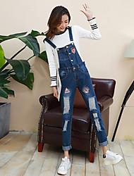 Sign 2017 Spring Korean cartoon fashion denim overalls Siamese pants pantyhose female models student