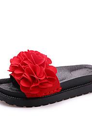 Недорогие -Для женщин Обувь Полиуретан Лето Оригинальная обувь Модная обувь Тапочки и Шлепанцы Для прогулок На плоской подошве Круглый носок Цветы