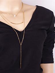 abordables -Mujer Personalizado Colgante Perla Artificial Moda Euramerican Collares con colgantes Obsidiana Perla Artificial Cobre Collares con