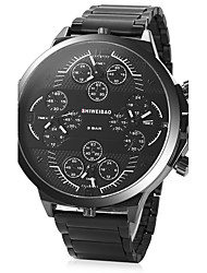cheap -Men's Wrist Watch 30 m Water Resistant / Water Proof Calendar / date / day Creative Stainless Steel Band Analog Charm Luxury Vintage Black - White Black One Year Battery Life / Dual Time Zones