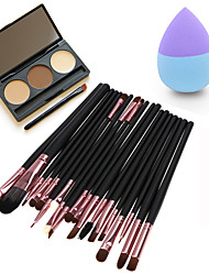 20pcs Makeup Brushes Set Eyeshadow Eyeliner Lip Brush Tool4#&3Colors Eyeshadow Palette1PCS Beauty egg