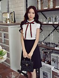 Tubino Fodero Nero e bianco Vestito Da donna-Per uscire Casual Ufficio Semplice Moda città Sofisticato Monocolore Colletto alla coreana