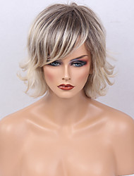 cheap -Human Hair Capless Wigs Human Hair Natural Wave Layered Haircut Bob Haircut With Bangs Side Part Dark Roots Ombre Hair Short Machine Made
