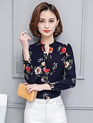 cheap -Women's Work Holiday Vintage Cute Shirt - Floral, Ruched Stand