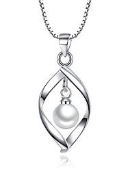 cheap -Women's Leaf Imitation Pearl Pendant Necklace - Unique Design Leaf Necklace For Wedding Party Special Occasion Engagement