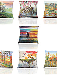 Set of 7 Landscape Painting Pattern Polyester Imitation Silk  Cushion Cover Home Office Sofa Square  Pillow Case Decorative Cushion Covers Pillowcase