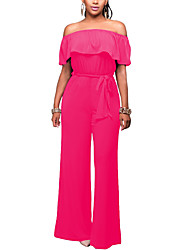 cheap -Women's Daily Club Holiday Casual Sexy Street chic Solid Boat Neck Jumpsuits,Wide Leg Short Sleeve Spring Summer Polyster