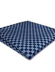 cheap -CH22 Handmade Business Men's Pocket Square Handkerchiefs Unique Blue Silver Checked100% Silk New Wedding Classic Casual