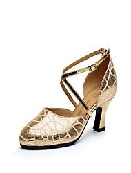 "Women's Latin Leather Heel Indoor Buckle Cuban Heel Gold 2"" - 2 3/4"" Non Customizable"