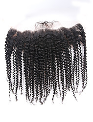 cheap -ELVA HAIR 4x13 Closure Classic / Kinky Curly Free Part / Middle Part / 3 Part Swiss Lace Human Hair Daily
