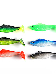 """4 pcs Soft Bait Fishing Lures Soft Bait Black Green Jasmine Green Red Blue Dark Green g/Ounce,90 mm/3-1/2"""" inch,SiliconSea Fishing"""
