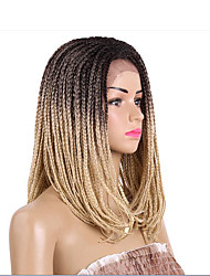 cheap -Women Synthetic Lace Front Wig Medium Length Straight Dark Brown Black/Burgundy Strawberry Blonde/Light Blonde Black Ombre Hair Dark
