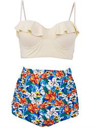 cheap -Women's Plus Size Sporty Strap Bikini - Floral, Ruffle Print High Waist