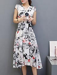 Mousseline de Soie Balançoire Robe Femme Sortie Chinoiserie,Imprimé Col en V Midi Manches Courtes Polyester Eté Taille NormaleNon