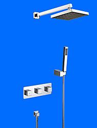 Недорогие -Смеситель для душа - Современный Хром На стену Керамический клапан / Латунь / Две ручки Четыре отверстия