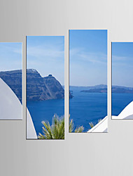 Photographic Print Landscape Modern Mediterranean,Four Panels Canvas Any Shape Print Wall Decor For Home Decoration