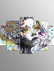 cheap -Stretched Canvas Print Abstract Portrait Modern, Five Panels Canvas Any Shape Print Wall Decor Home Decoration