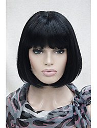 cheap -New Cute Black Short Straight  Synthetic Centre Skin Top Women's Bob Wig