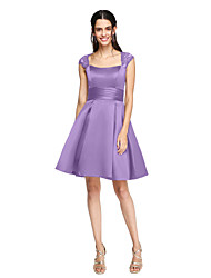 cheap -A-Line Square Neck Knee Length Lace / Satin Bridesmaid Dress with Sash / Ribbon / Ruched / Pleats by LAN TING BRIDE®