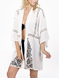 Women's Loose Beach Swimwear Cover up Print Long Sleeve Hollow Mesh Patchwork Chiffon Polyester White