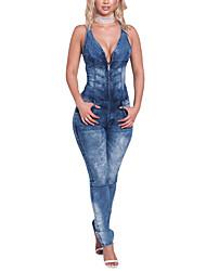 Femme Sexy simple Chic de Rue Taille Normale Sortie Vacances Combinaison-pantalon,Slim Toile de jean Dos Nu Couleur Pleine Printemps Eté