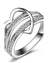 preiswerte -Damen Bandringe Ring Verlobungsring Kubikzirkonia Klassisch Retro Herz Euramerican Sterling Silber Zirkon Herz Schmuck Weihnachts