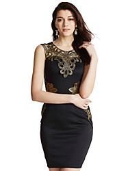 cheap -Women's Embroidery Club Sexy / Vintage Bodycon DressPatchwork Lace Hollow Out V Neck Above Knee Sleeveless Mid Rise