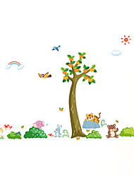 cheap -Wall Stickers Wall Decals Style Fresh tree Animal Paradise PVC Wall Stickers