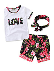 cheap -Girls' Daily Sports Formal Floral Clothing Set, Cotton Summer Short Sleeves Floral Bow White