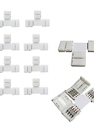 10pcs Pack T Shape Solderless Snap Down 4Conductor LED Strip Connector for Quick Splitter Connection of 10mm Wide 5050 RGB Flex LED Strips 10MM-4PCSBT