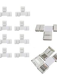 10pcs pack t shape sem soldar encaixe 4conductor led conector de tira para conexão rápida do divisor de 10 milímetros de largura 5050 rgb