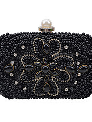Women Bags All Seasons PU Evening Bag Pearl Crystal/ Rhinestone for Wedding Event/Party Formal Champagne White Black