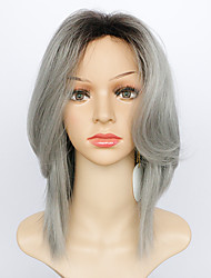 cheap -Synthetic Wig Natural Wave Layered Haircut With Bangs Dark Roots Ombre Hair Gray Women's Carnival Wig Halloween Wig Natural Wigs Medium