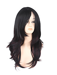 cheap -Synthetic Hair Wigs Curly Side Part With Bangs Natural Wigs Long Black/Dark Wine