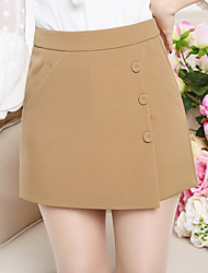 Women's High Rise Micro-elastic Shorts Pants,Simple Wide Leg Pure Color Beaded Layered Solid