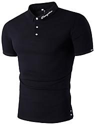 Недорогие -Муж. Polo Хлопок, Рубашечный воротник Тонкие Однотонный / С короткими рукавами