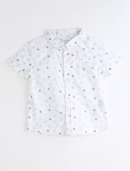 billige -Unisex Skjorte Daglig Bomuld Sommer Kortærmet Hvid