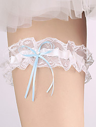 cheap -Garter Lace Nylon Bowknot Ribbon Rhinestone Ivory Wedding Accessories