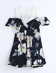 cheap -Girl's Lattice Dress, Cotton Summer Short Sleeves Stripes Blue