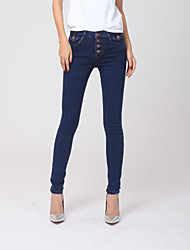 Women's Mid Rise strenchy Jeans Pants,Simple Skinny Solid