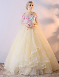 cheap -Ball Gown Princess Off-the-shoulder Asymmetrical Tulle Formal Evening Dress with Embroidery by Embroidered Bridal