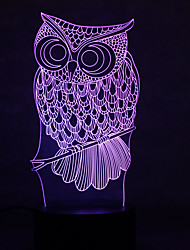 Owl Turtles Touch Dimming 3D LED Night Light 7Colorful Decoration Atmosphere Lamp Novelty Lighting Light