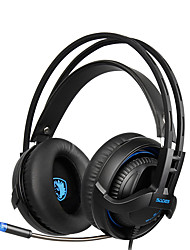 economico -Sades sa935 nuove cuffie bassi profondi con retrattile stereo headset microfono pc gaming cuffie professionali di controllo del volume a