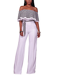 Women's High Rise Casual/Daily Club Holiday  Off-The-Shoulder Slim Knit JumpsuitsSexy Street chic Wide Leg Backless Striped Spring Summer