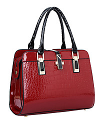 cheap -Women's Bags Patent Leather Tote / Shoulder Bag Solid Colored Black / Blue / Wine