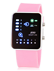 Women's Fashion Watch Digital LED Silicone Band Pink Yellow Rose