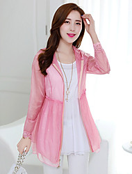 Women's Casual/Daily Beach Cute Summer Coat,Solid Round Neck Long Sleeve Long Polyester Rivet